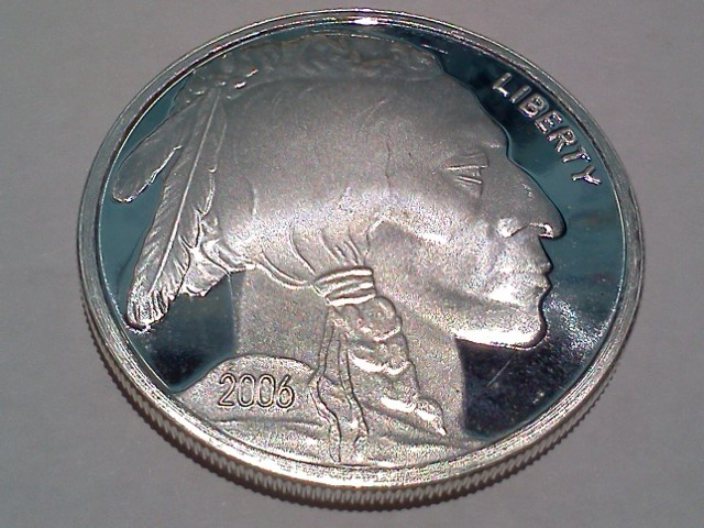 2006 Silver American Indian Head and Buffalo 1 OZ .999 Fine Silver Round