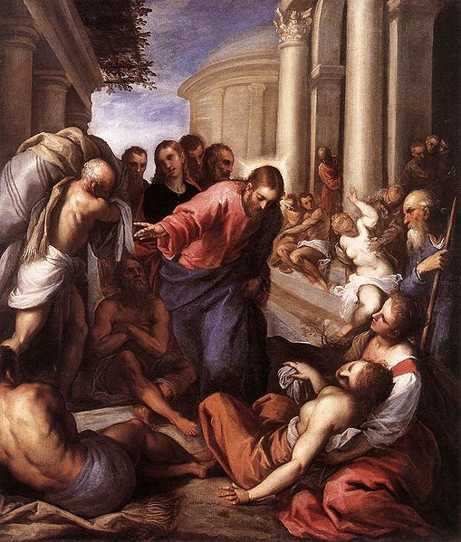 Christ healing the paralytic at Bethesda, by Palma il Giovane, 1592.