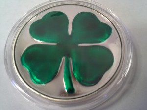 1 oz .999 Fine Silver Round Irish Green Enamel Four-Leaf Clover With Display Box