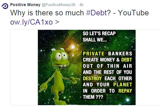 Positive Money Tweet