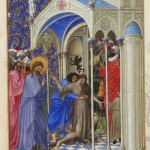 Exorcising a boy possessed by a demon from Très Riches Heures du Duc de Berry, 15th century. Mark 9:14-29, Matthew 17:14-21, Luke 9:37-49