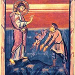 Medieval book illustration of Christ Exorcising the Gerasenes demonic. Mark 5:1-20 Matthew 8:28-34 Luke 8:26-39